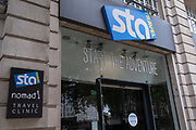 The exterior of international budget flight and holiday booking service, STA Travel in Victoria, London, whose parent company has just announced its insolvency, a casualty of the Coronavirus pandemic, on 24th August 2020, in London, England. STA Travel (Student Travel Australia) was a travel agency specializing in youth travel. It was owned by the Swiss Diethelm Keller Holding (DKH) and employed almost 2,000 employees in over 200 stores worldwide. STA dated back to 1979 when two students in Australia organized the company after returning from their travels.