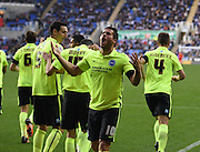 Brighton striker, Tomer Hemed (10) celebrates after Jamie Murphy's goal to make it 1-0 to Brighton during the Sky Bet Championship match between Reading and Brighton and Hove Albion at the Madejski Stadium, Reading, England on 31 October 2015. Photo by David Charbit.