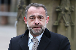 © Licensed to London News Pictures . 18/03/2016 . Manchester , UK . Michael Le Vell arrives at the service. Television stars and members of the public attend the funeral of Coronation Street creator Tony Warren at Manchester Cathedral . Photo credit : Joel Goodman/LNP