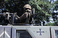 Kabul, 19 July 2005..German troop, on board of a military  vehicle, patrolling the street of the Afghan's capital.