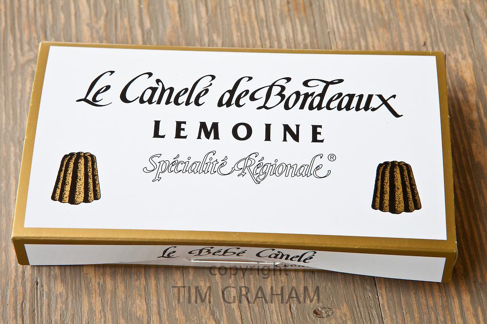 Speciality French patisserie gateau cakes from Lemoine in Bordeaux France, Le Canele de Bordeaux, in gift box