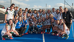 Surbiton mens and ladies teams with trophies. Holcombe v Surbiton - Investec Women's Hockey League Final, Lee Valley Hockey & Tennis Centre, London, UK on 23 April 2017. Photo: Simon Parker
