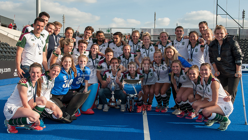 Surbiton mens and ladies teams with trophies. Holcombe v Surbiton - Investec Women's Hockey League Final, Lee Valley Hockey & Tennis Centre, London, UK on 23 April 2017. Photo: Simon Parker