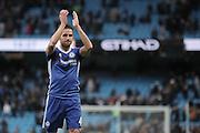 Chelsea's Cesc Fabregas applauds the away fans following the Premier League match between Manchester City and Chelsea at the Etihad Stadium, Manchester, England on 3 December 2016. Photo by Simon Brady.