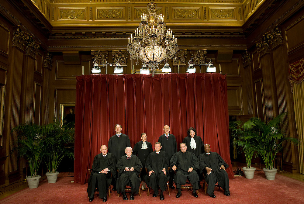 The Justices of the US Supreme Court, (back row L to R) Associate Justice Samuel Alito, Associate Justice Ruth Bader Ginsburg, Associate Justice Stephen Breyer, Associate Justice Sonia Sotomayor, (front row L to R) Associate Justice Anthony Kennedy, Associate Justice John Paul Stevens, Chief Justice John Roberts, Associate Justice Antonin Scalia, and Associate Justice Clarence Thomas, pose for a group photograph at the court in Washington, DC, USA 29 September 2009. A new group photo is taken whenever a new justice joins the court. In this case it was Sotomayor, who replaced retired Associate Justice David Souter