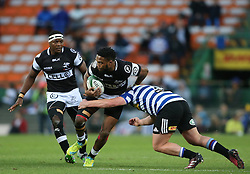 Lukhanyo Am of the Sharks attempts to get past Neil Rautenbach of Western Province during the Currie Cup Premier Division match between the DHL Western Province and the Sharks held at the DHL Newlands Rugby Stadium in Cape Town, South Africa on the 3rd September  2016<br /> <br /> Photo by: Shaun Roy / RealTime Images