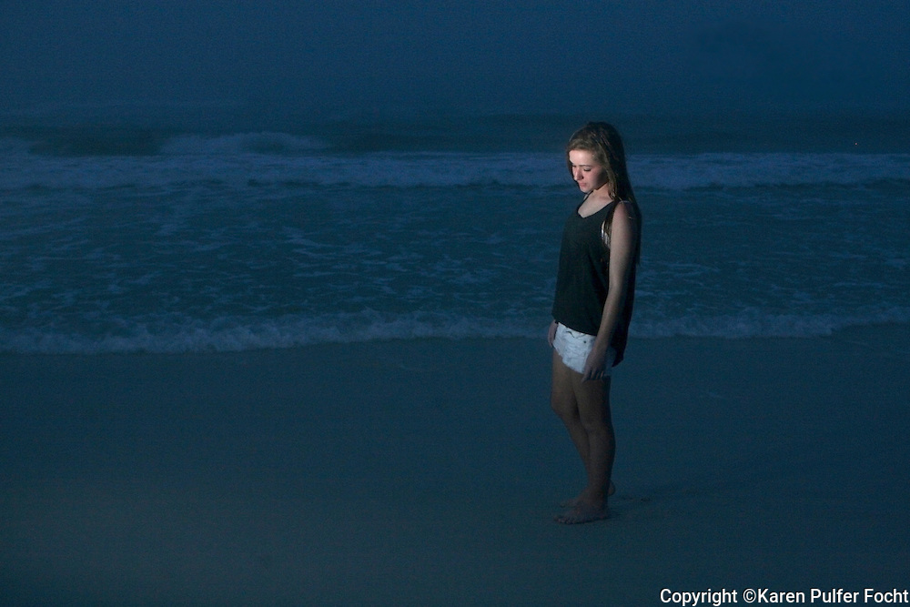 Portraits of female teens  on the Beach. Model Release