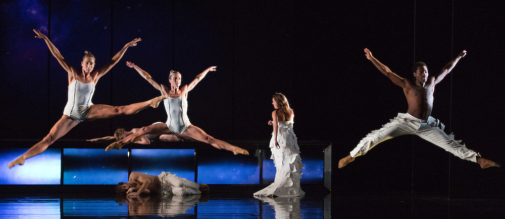 """© Licensed to London News Pictures. 16/10/2012. London, England. L-R: Julia Gillespie, Pieter Symonds, Kirsty Hopkins and Otis-Cameron Carr. Rambert Dance Company perform the new pice """"Labyrinth of Love"""" by choreographer Marguerite Donlon at Sadler's Wells Theatre, London. Music by Michael Daugherty, visual imagery by Mat Collishaw. With the soprano Kirsty Hopkins. Photo credit: Bettina Strenske/LNP"""