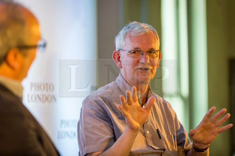 © Licensed to London News Pictures. 16/05/2019. LONDON, UK.  Magnum photographer Martin Parr is interviewed by Dominic Sandbrook during Photo London 2019 at Somerset House.  The event showcases the best in contemporary photography from the over 100 of world class galleries for collectors and enthusiasts.  The festival runs 16 to19 May 2019..  Photo credit: Stephen Chung/LNP