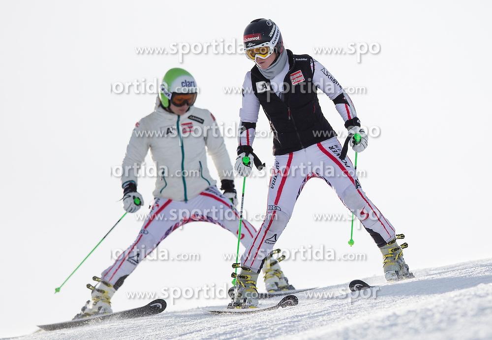 19.10.2012, Rettenbachferner, Soelden, AUT, OeSV, interne Qualifikationslauefe, im Bild Anna Fenninger (AUT). Elisabeth Goergl (AUT) // Anna Fenninger of Austria and Elisabeth Goergl of Austria  during Qualifying of the Austrian Ski Team 'OeSV' at Rettenbachferner in Soelden, Austria on 2012/10/19. EXPA Pictures © 2012, PhotoCredit: EXPA/ J. Groder