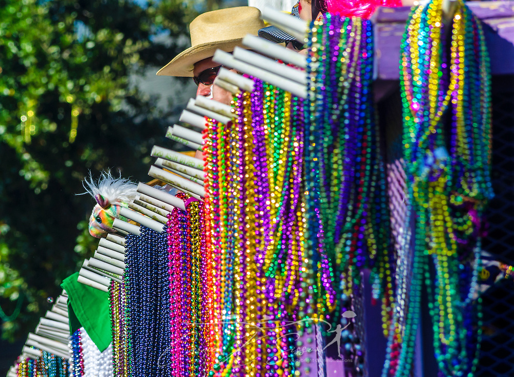 Beads hang from a float as it travels down Washington Street in downtown Mobile, Ala., during the Joe Cain Procession at Mardi Gras, March 2, 2014. French settlers held the first Mardi Gras in 1703, making Mobile's celebration the oldest Mardi Gras in the United States. (Photo by Carmen K. Sisson/Cloudybright)