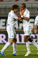 FOOTBALL - FRENCH CHAMPIONSHIP 2011/2012 - L1 - OLYMPIQUE MARSEILLE v AC AJACCIO  - 22/10/2011 - PHOTO PHILIPPE LAURENSON / DPPI - JOY AFTER  FIRST GOAL ANDRE AYEW (OM)
