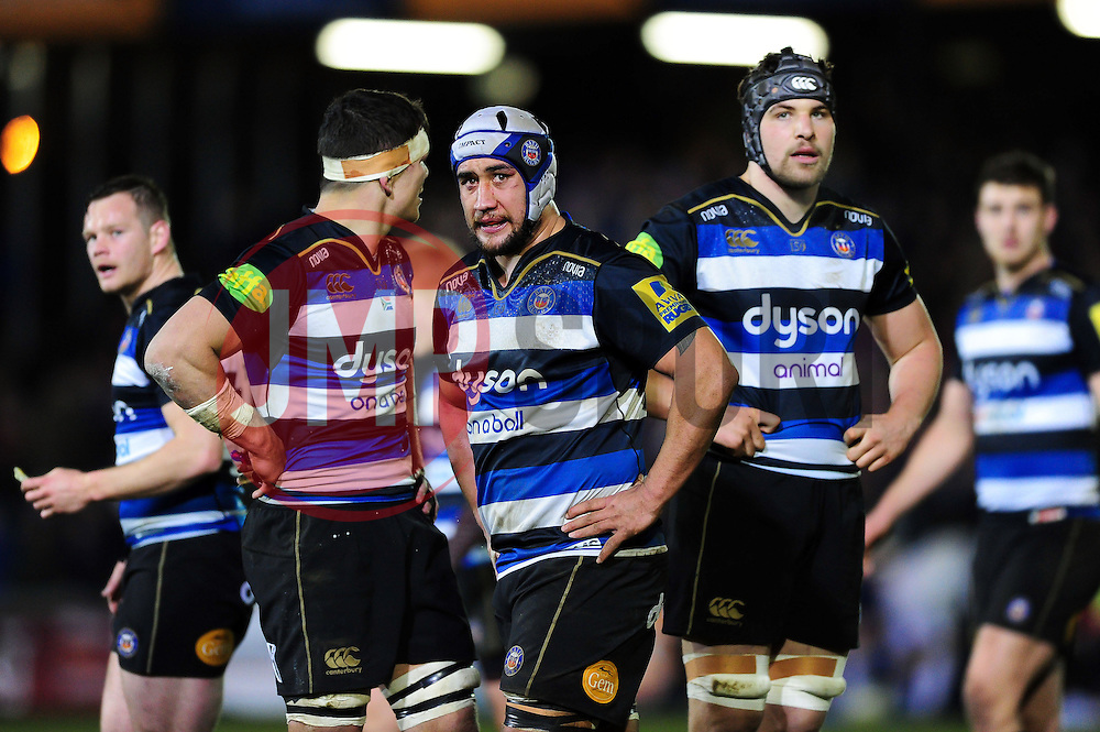 Bath Rugby players look on - Mandatory byline: Patrick Khachfe/JMP - 07966 386802 - 18/03/2016 - RUGBY UNION - The Recreation Ground - Bath, England - Bath Rugby v Newcastle Falcons - Aviva Premiership.