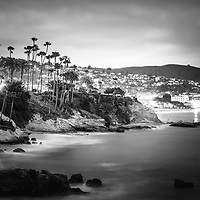 Laguna Beach California city at night black and white picture. Laguna Beach is a beach city along the Pacific Ocean in Orange County Southern California.