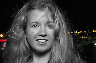 Girl with Messy Hair at Night, NY, USA, selective color (MR)