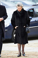 Ana of Orleans attend Mass commemorating the 25th anniversary of the death of His Royal Highness the Count of Barcelona Juan of Borbon at Royal Monastery of San Lorenzo de El Escorialon April 3, 2018 in El Escorial, Spain