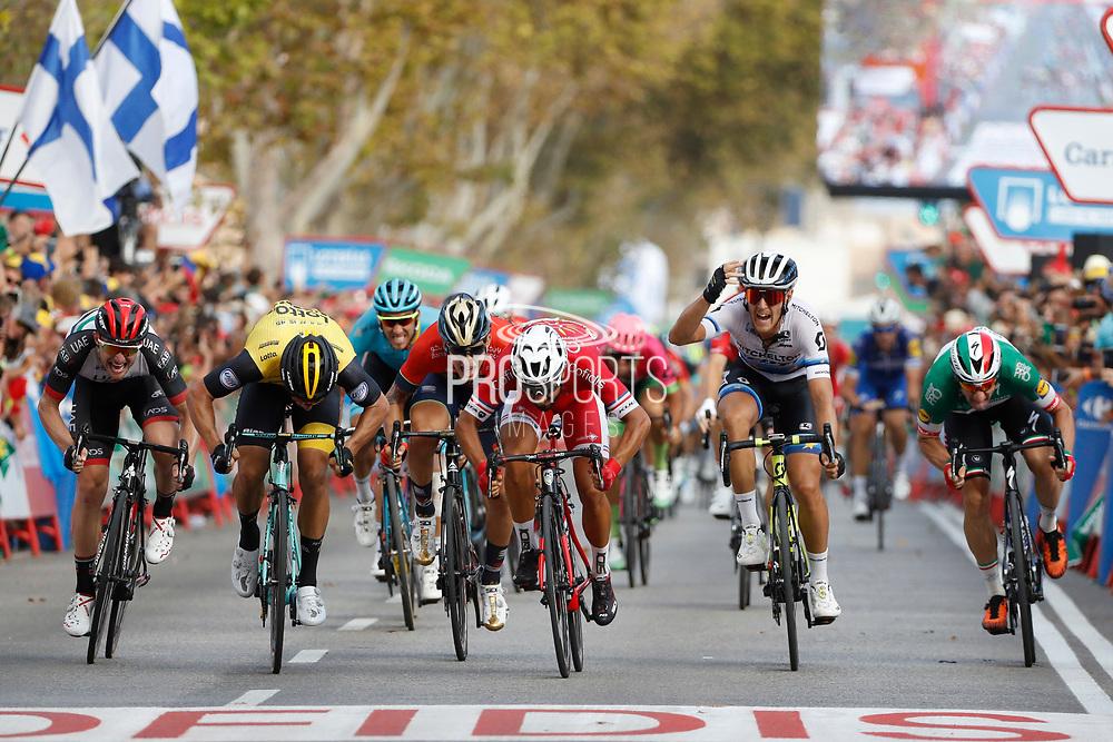 Arrival sprint, Nacer Bouhanni (FRA - Cofidis), Danny Van Poppel (NED - Team LottoNL - Jumbo), Matteo Trentin (ITA - Mitchelton - Scott), Elia Viviani (ITA - QuickStep - Floors) , during the UCI World Tour, Tour of Spain (Vuelta) 2018, Stage 6, Huercal Overa - San Javier Mar Menor 155,7 km in Spain, on August 30th, 2018 - Photo Luis Angel Gomez / BettiniPhoto / ProSportsImages / DPPI