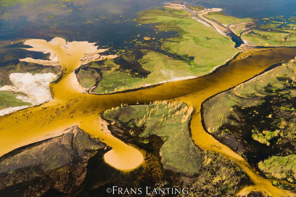 Aerial view of Xigira lagoon, Okavango Delta, Botswana