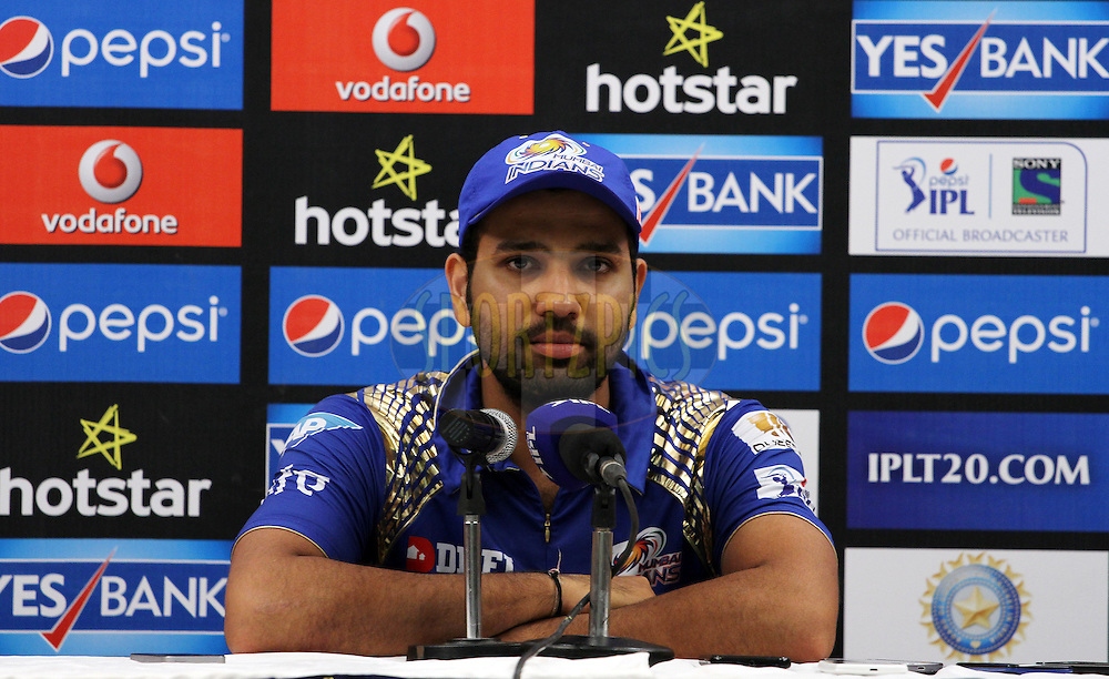 Mumbai Indians captain Rohit Sharma speaks during the press conference of the match 46 of the Pepsi IPL 2015 (Indian Premier League) between The Mumbai Indians and The Royal Challengers Bangalore held at the Wankhede Stadium in Mumbai, India on the 10th May 2015.<br /> <br /> Photo by:  Vipin Pawar / SPORTZPICS / IPL