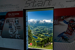 THEMENBILD - Der Blick aus dem Starthaus des Hahnenkammrennen, aufgenommen am 26. Juni 2017, Kitzbühel, Österreich // The view from the starting house of the Hahnenkammrennen at the Streif, Kitzbühel, Austria on 2017/06/26. EXPA Pictures © 2017, PhotoCredit: EXPA/ Stefan Adelsberger