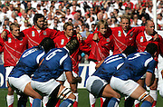 Samoa try to intimidate England whilst performing the Haka. England v Samoa, Nantes, France, Rugby World Cup 2007, 22nd September 2007.