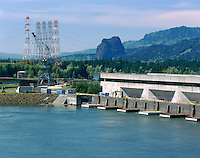 Bonneville Dam on the Columbia River Gorge Oregon