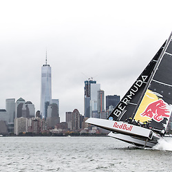 Jimmy Spithill sailing the F4 race yacht in New York on October 22, 2016