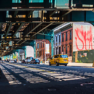 Under the elevated subway on 23rd st. and 45th rd at Hunters Point, Long Island City, New York.