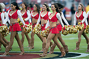 The San Francisco 49ers cheerleaders Gold Rush perform before the NFL week 9 regular season football game against the Oakland Raiders on Thursday, Nov. 1, 2018 in Santa Clara, Calif. The 49ers won the game 34-3. (©Paul Anthony Spinelli)