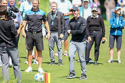 Rory Mcllroy about to kick a football onto the 18th green during the Celebrity Pro-Am day at Wentworth Club, Virginia Water, United Kingdom on 23 May 2018. Picture by Phil Duncan.