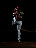 Apr. 17 2011; Phoenix, AZ, USA; Arizona Diamondbacks pitcher Josh Collmenter (55) pitches during the twelfth inning against the San Francisco Giants at Chase Field. The Diamondbacks defeated the Giants 6-5 in extra innings. Mandatory Credit: Jennifer Stewart-US PRESSWIRE