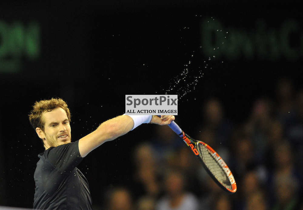 Sweat flies of Andy Murray's racket during the Great Britain v Australia, Semi Finals,  Aegeon Davis Cup by BNP Paribas, Friday 18 September 2015 (c) Angie Isac | SportPix.org.uk