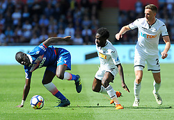 Papa Alioune Ndiaye of Stoke City competes with Nathan Dyer of Swansea City - Mandatory by-line: Nizaam Jones/JMP- 13/05/2018 - FOOTBALL - Liberty Stadium - Swansea, Wales - Swansea City v Stoke City - Premier League
