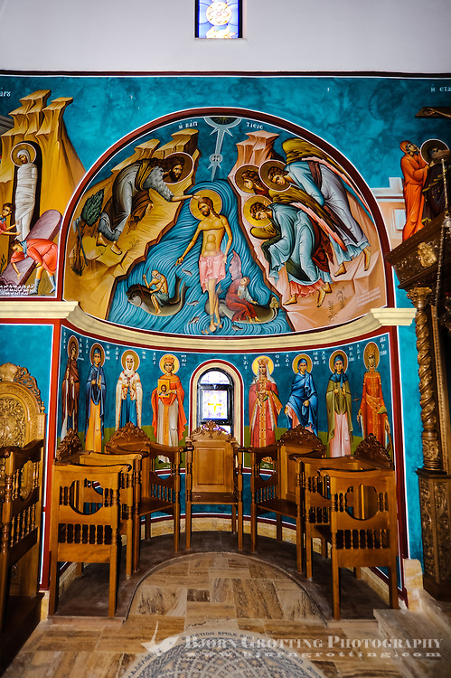 Jordan. Bethany is the settlement and region where John the Baptist lived and baptized. Inside the Greek Orthodox Church.