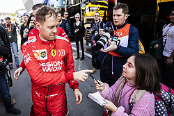 February 18, 2019 - Barcelona, Barcelona, Spain - Sebastian Vettel from Germany with 05 Scuderia Ferrari Mission Winnow SF90 portrait signing some autographs to the fans during the Formula 1 2019 Pre-Season Tests at Circuit de Barcelona - Catalunya in Montmelo, Spain on February 18. (Credit Image: © Xavier Bonilla/NurPhoto via ZUMA Press)