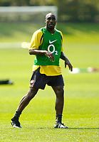 Photo: Richard Lane.<br />Arsenal Training Session. The Barclays Premiership. 11/05/2006.<br />Sol Campbell in action during training.