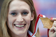 Kamila Licwinko (maiden name: Stepaniuk) of Poland pose with her gold medal while medal's ceremony during the IAAF Athletics World Indoor Championships 2014 at Ergo Arena Hall in Sopot, Poland.<br /> <br /> Poland, Sopot, March 9, 2014.<br /> <br /> Picture also available in RAW (NEF) or TIFF format on special request.<br /> <br /> For editorial use only. Any commercial or promotional use requires permission.<br /> <br /> Mandatory credit:<br /> Photo by © Adam Nurkiewicz / Mediasport