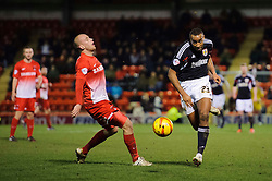 Bristol City Forward Tyrone Barnett (ENG) leaves behind Leyton Orient Defender Scott Cuthbert (SCO)  - Photo mandatory by-line: Rogan Thomson/JMP - 07966 386802 - 11/02/2014 - SPORT - FOOTBALL - The Matchroom Stadium, London - Leyton Orient v Bristol City - Sky Bet Football League 1.