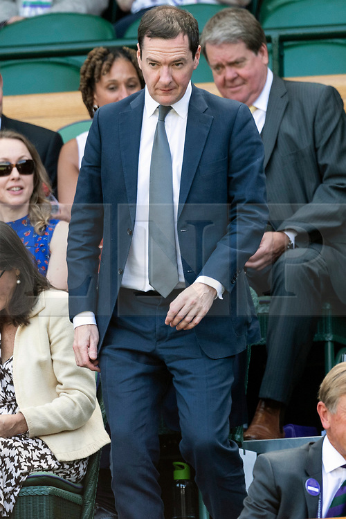 © Licensed to London News Pictures. 04/07/2019. London, UK. George Osborne watches centre court tennis in the royal box on Day 4 of Wimbledon Tennis Championships 2019 held at the All England Lawn Tennis and Croquet Club. Photo credit: Ray Tang/LNP