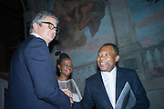 JAY JOPLING; OKWUL ENWEZOR, Okwui Enwezor and Vinyl Facorty hosted party at Ca'Sagredo, Campo Santa Sofia Venice Biennale, Venice. 5 May 2015
