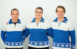 Saso Ales, Spela Micunovic and Jure Ales during official presentation of the outfits of the Slovenian Ski Teams before new season 2015/16, on October 6, 2015 in Kulinarika Jezersek, Sora, Slovenia. Photo by Vid Ponikvar / Sportida