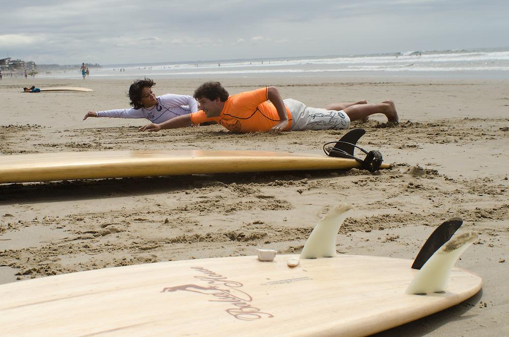Surf lessons on the beach in Montañita, Ecuador.