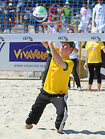Prince Harry plays beach volleyball on Flamengo Beach as part of his visit to Brazil, Rio de Janeiro, Brazil, on the 10th March 2012.<br /> PICTURE BY JAMES WHATLING