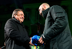 Zoran Jankovic, mayor of Ljubljana with a gift for Vid Kavticnik, team's captain during reception of Slovenian National Handball Men team after they placed third at IHF World Handball Championship France 2017, on January 30, 2017 in Mestni trg, Ljubljana centre, Slovenia. Photo by Vid Ponikvar / Sportida
