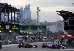 April 28, 2018 - Baku, Azerbaijan - Motorsports: World Championship; 2018; Grand Prix Azerbaijan, Grand Prix of Europe, Formula 1 2018 Azerbaijan Grand Prix, .#11 Sergio Perez (MEX, Sahara Force India F1 Team), .#33 Max Verstappen (NDL, Red Bull Racing) (Credit Image: © Hoch Zwei via ZUMA Wire)