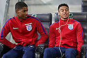 England Forward Marcus Rashford and England Midfielder Jesse Lingard share a joke during a general stadium walk around before the Slovenia vs England FIFA World Cup Group F Qualifier match at Stadion Stozce, Ljubljana, Slovenia on 10 October 2016. Photo by Phil Duncan.