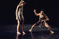 Dancers Kenny Wing Tao Ho and Maren Fidje Bjørneseth perform in a choreography developed with the idea that they are born in a post-apocalyptical, post-technology world, where communications and touch is learnt from machines. Created by the Vuong collective; Nina Kov, Catarina Carvalho and Michael-John Harper on the dance side and musicians Leafcutter John (of Polar Bear fame) and Max Baillie, soloist of the Aurora Orchestra More performances are scheduled for 2015. Photo credit Carole Edrich
