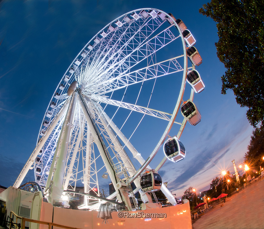 Located at the South end of Centennial Park in downtown Atlanta, the SkyView Ferris wheel is set up to thrill families from all over the Atlanta Metro area. The wheel is almost 20 stories high with 42 gondolas that will be able to hold up to 6 people.