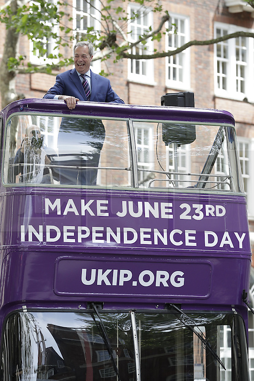 © Licensed to London News Pictures. 20/05/2016. London, UK.  UK Independence Party  leader Nigel Farage launches his EU referendum tour and bus outside The European Commission building in central London.Campaigning by parties for and against the United Kingdom's membership of the European Union is well under way ahead of polling day on June 23, 2016. Photo credit: Peter Macdiarmid/LNP