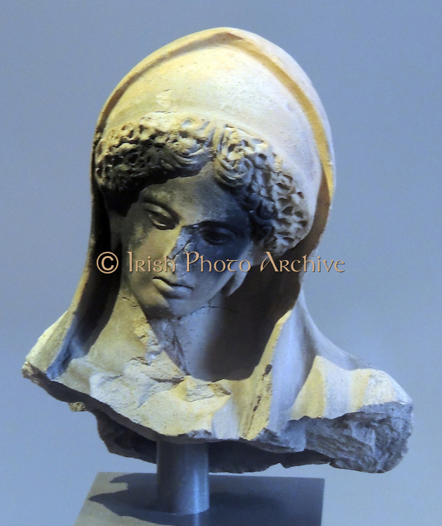 Head of a female figurine terracotta 3rd century BC origin unknown.